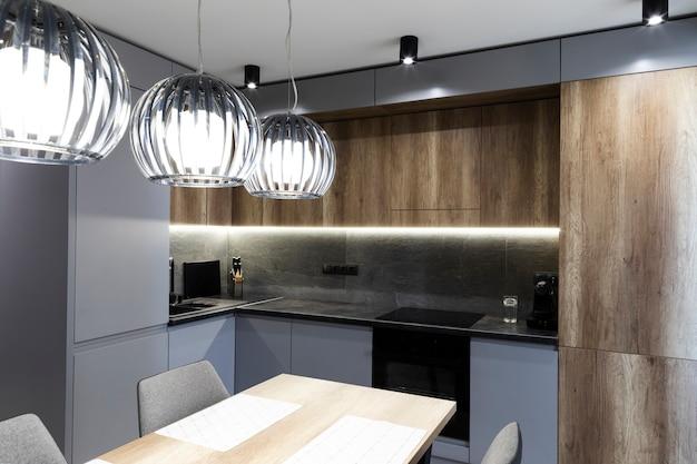 Cocina y comedor de diseño moderno. Foto gratis