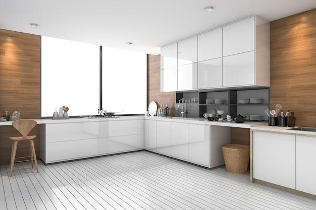 Cocina étnica moderna blanca con diseño de madera | Foto Premium