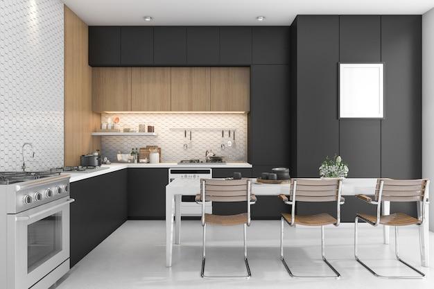 Cocina negra con diseño en madera. Foto Premium