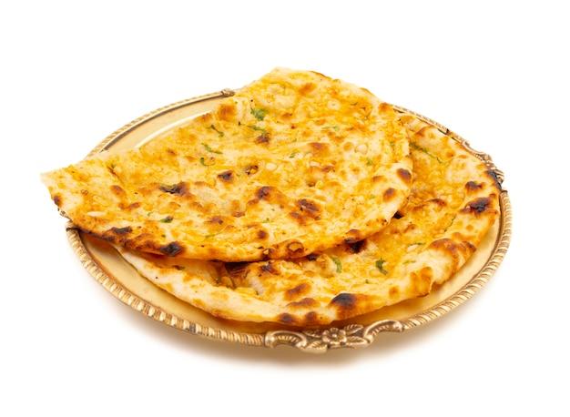 Cocina saludable india pan de ajo o ajo naan Foto Premium