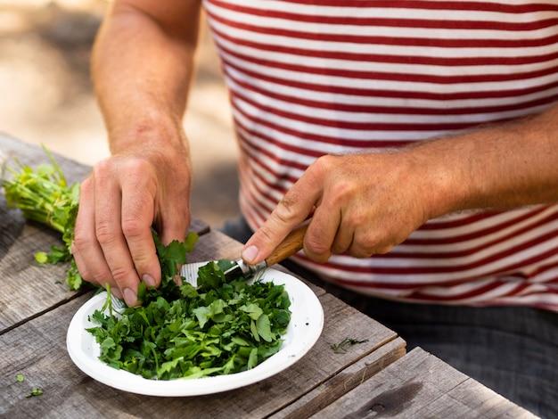 Cocinero irreconocible cortando apio para ensalada Foto gratis