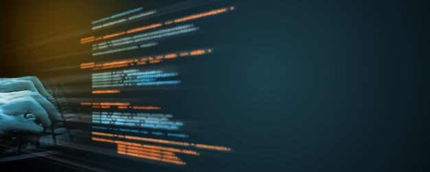 Codificación de fuente de software. Foto Premium