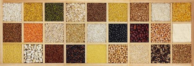 Colección de cereales crudos, frijoles y semillas. Foto Premium