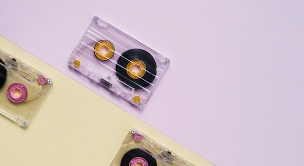 Colección de cinta de cassette transparente con espacio de copia Foto gratis