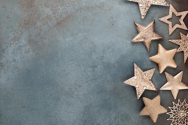 Colección de decoraciones de estrellas navideñas para maquetas de diseño Foto Premium