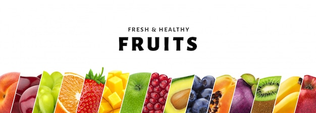 Collage de frutas aisladas sobre fondo blanco con copia espacio, frutas frescas y saludables y primer plano de bayas Foto Premium