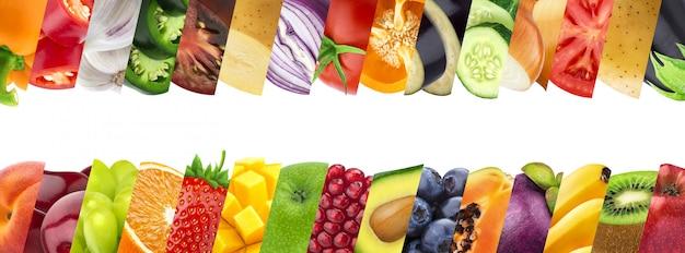 Collage de frutas y verduras en primer plano de rayas Foto Premium