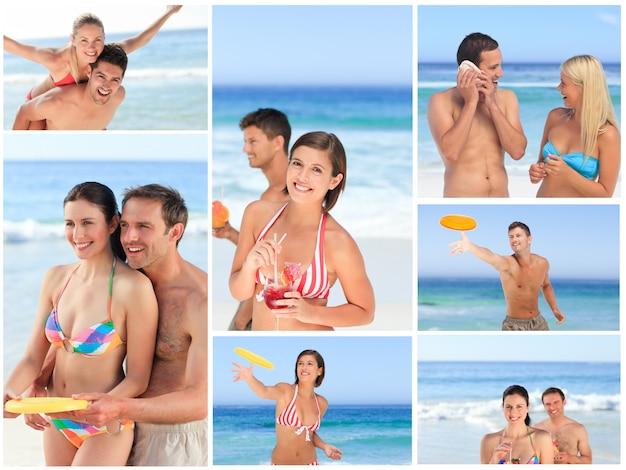 Collage de parejas encantadoras disfrutando de un momento juntos en una playa Foto Premium