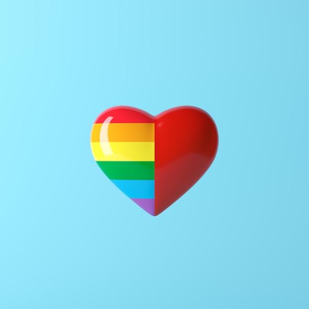 Color del arco iris de dos tonos del corazón y color rojo, concepto creativo mínimo, representación 3d Foto Premium