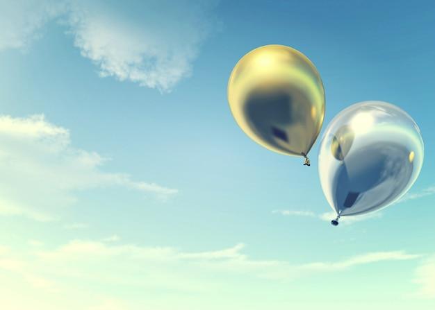Coloridos globos dorados y plateados que flotan en las vacaciones de verano, concepto de vacaciones y alegre, representación 3d Foto Premium