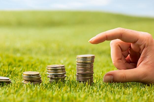 Las columnas de monedas sobre hierba Foto gratis