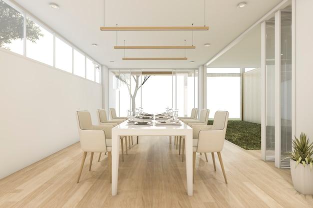 Comedor minimalista con mesa y silla. | Descargar Fotos premium
