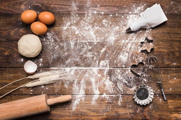 Composición flat lay de panadería con copyspace Foto gratis