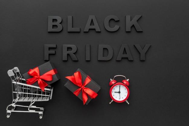 Composición de letras de viernes negro de vista superior Foto gratis