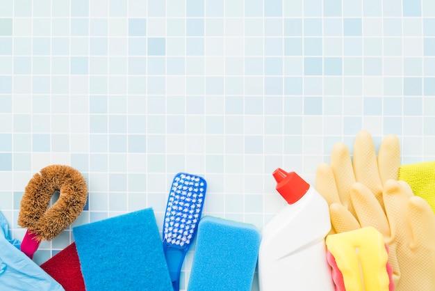 Composición de objetos de limpieza con copyspace Foto gratis