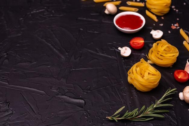Composición de la pasta que se puede utilizar como fondo. Foto Premium