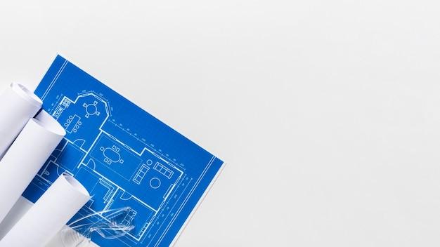 Composición de la vista superior de diferentes elementos arquitectónicos con espacio de copia Foto Premium