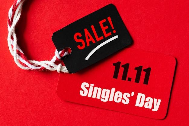Compras en línea de china, 11.11 venta de un solo día. boleto rojo y negro 11.11 venta de un solo día. Foto Premium
