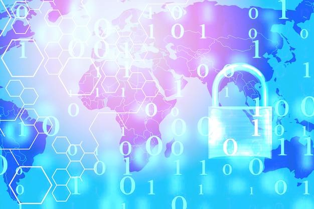 Computadora de sistemas de seguridad de datos con candado bloqueado en número digital y mapa mundial Foto Premium