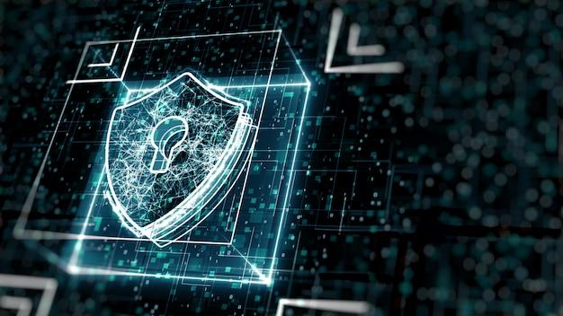 Concepto abstracto de seguridad cibernética. escudo con el icono de ojo de cerradura en el fondo de datos digitales. Foto Premium