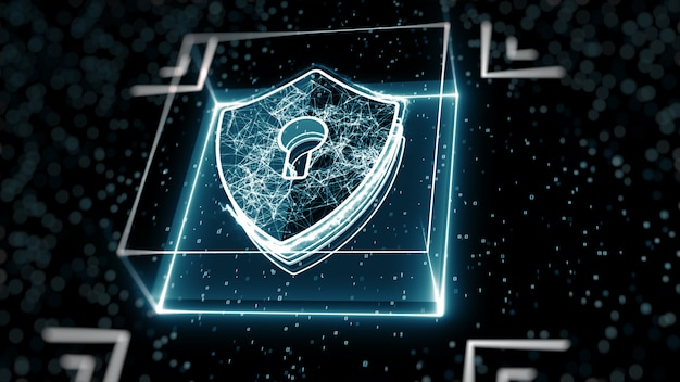 Concepto abstracto de seguridad cibernética. icono de escudo con cerradura en el fondo de datos digitales. Foto Premium