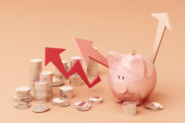 Concepto de ahorro de dinero, muestra de ingresos ricos en negocios como pila de monedas flecha creciente con hucha sonrisa sobre monedas pila representación 3d Foto Premium