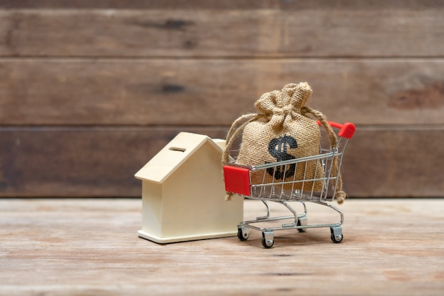 Concepto de ahorro de dinero de la recogida de monedas (dinero tailandés) en un carrito de compras en la naturaleza. Foto Premium