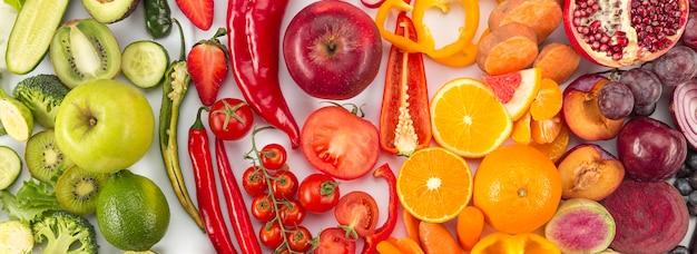 Concepto de alimentación saludable en colores degradados Foto Premium