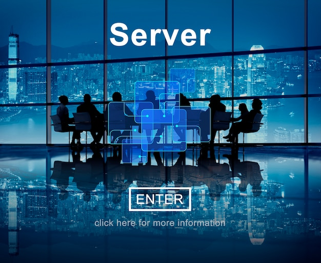 Concepto de base de datos en línea de tecnología de servidor Foto gratis