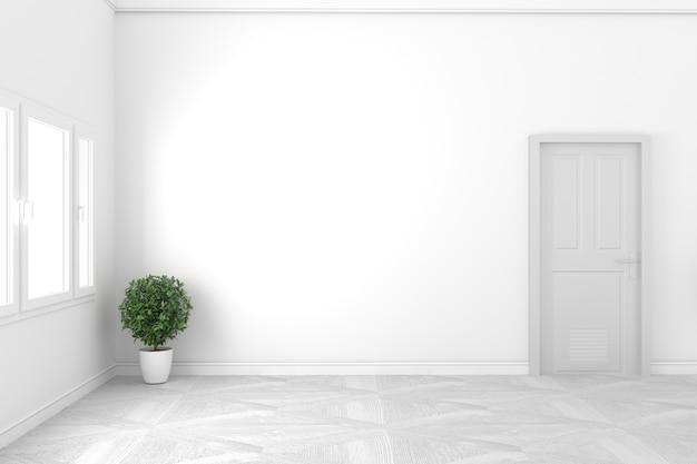 Concepto blanco vacío - habitación hermosa - diseño blanco de la puerta y la ventana, estilo blanco. render 3d Foto Premium