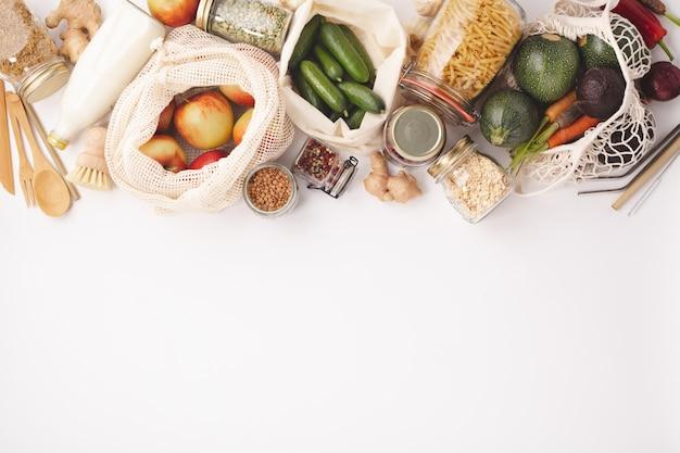 Concepto de cero residuos. compras ecológicas Foto Premium