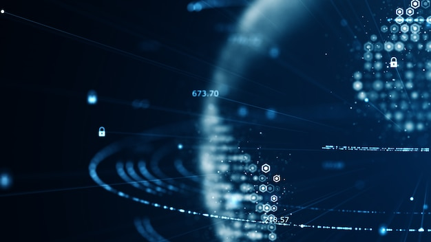 Concepto de ciberseguridad y comunicación global. Foto Premium