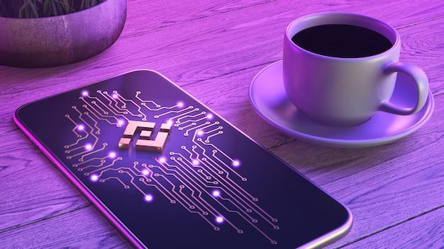 Concepto de comercio de criptomoneda móvil. el teléfono inteligente está sobre una mesa de madera, junto a una taza de café aromático. Foto Premium