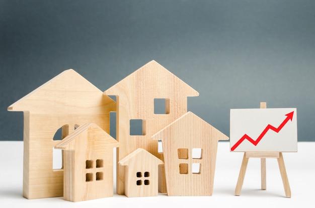 El concepto de crecimiento del mercado inmobiliario. el aumento de los precios de la vivienda. Foto Premium