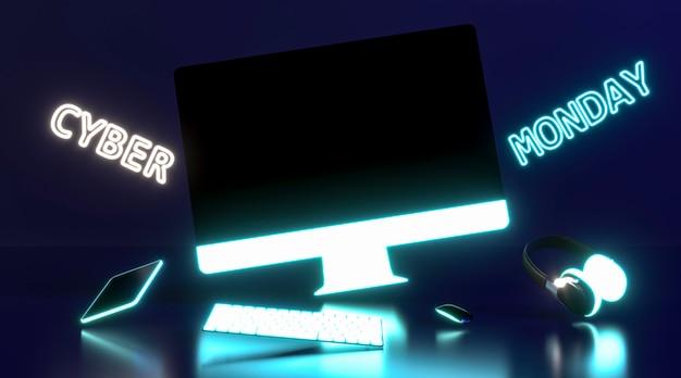 Concepto de cyber monday con monitor Foto gratis