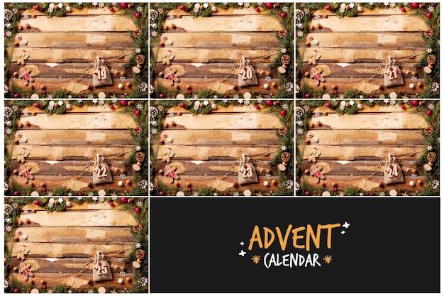 Concepto decorativo para calendario de adviento Foto gratis