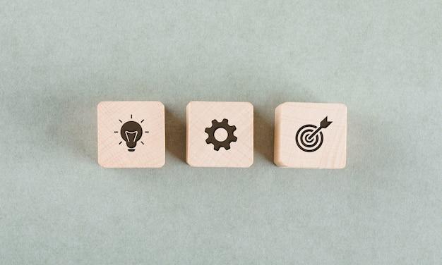 Concepto de destino con bloques de madera. Foto gratis