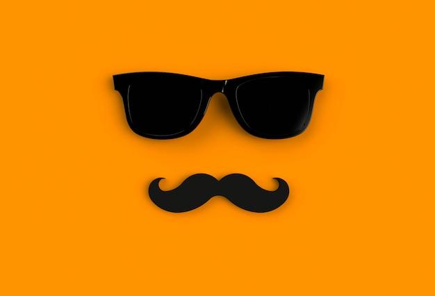 Concepto del día del padre. hipster gafas de sol negras y bigote divertido sobre fondo naranja Foto Premium