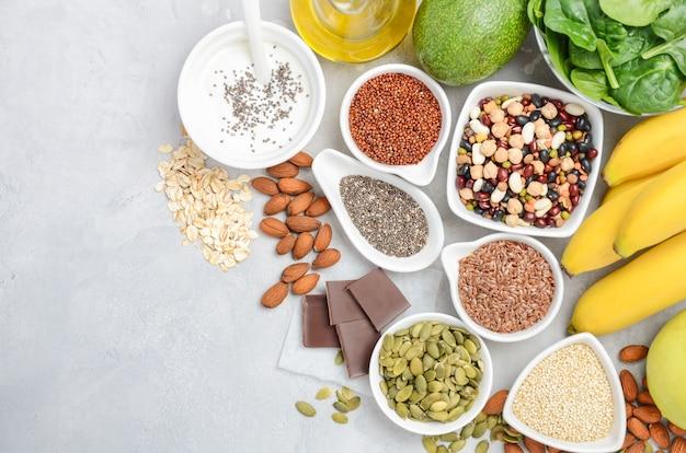 Concepto de dieta de alimentos de nutrición saludable. Foto Premium