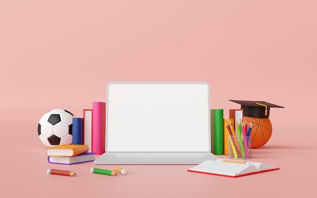 Concepto de educación en línea laptop con suministros educativos ilustración 3d Foto Premium