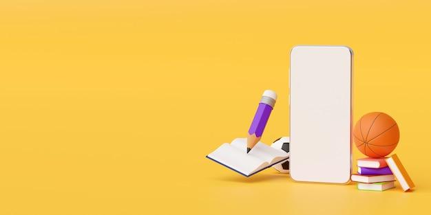 Concepto de educación en línea de smartphone con suministros educativos ilustración 3d Foto Premium