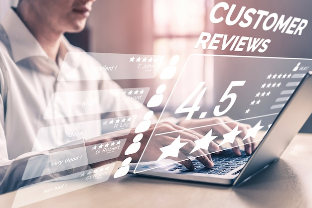 Concepto de encuesta de comentarios de satisfacción de revisión del cliente. Foto Premium