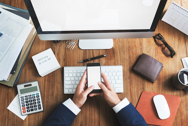 Concepto del escritorio del espacio de trabajo de la oficina de business objects Foto Premium