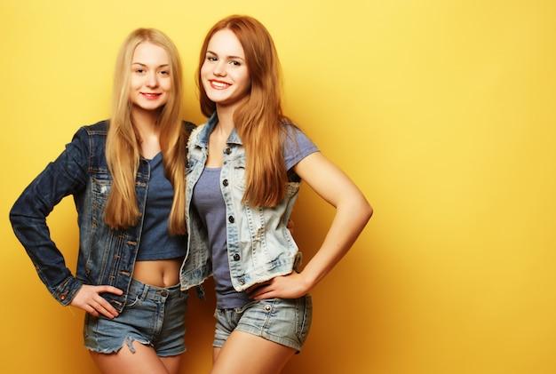Concepto de estilo de vida y personas: dos amigas juntas Foto Premium