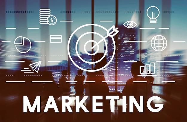 Concepto de estrategia comercial de publicidad de marketing