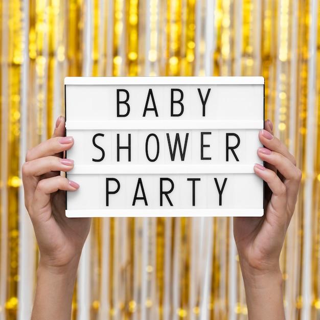 Concepto de fiesta de baby shower de vista frontal Foto gratis