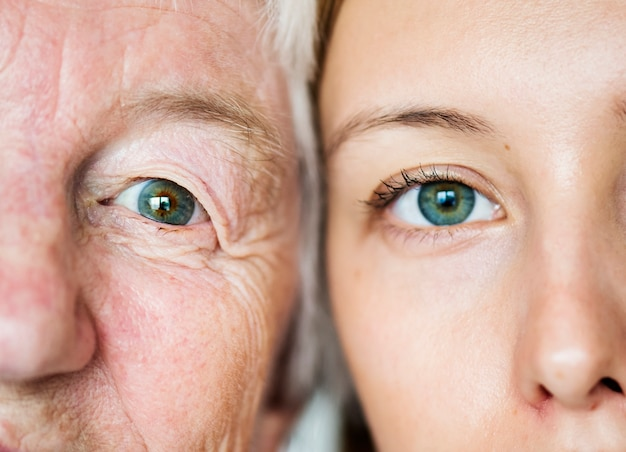 Concepto de genética de ojos verdes de generación familiar Foto gratis