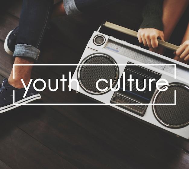 Concepto de gráfico de vector vintage de cultura juvenil Foto gratis
