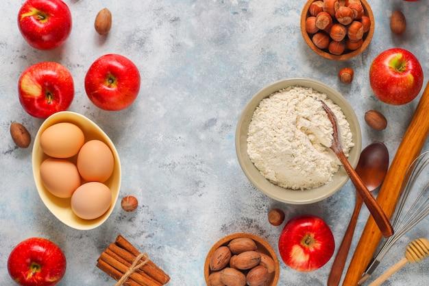 Concepto de hornear de otoño tarta de manzana Foto gratis