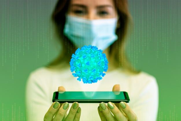 Concepto de infección futurista y mujer con máscara Foto gratis